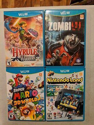 Nintendo Wii U Game Lot Zombie U, Hyrule Warriors, Super Mario 3-D World, Ninten