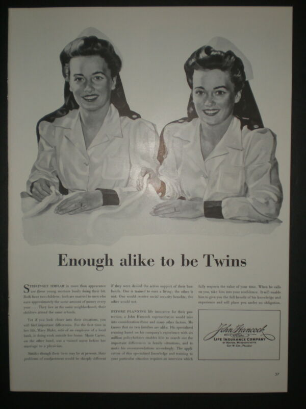 1942 NURSES MARY BLAKE MARIE CARTER WWII vtg JOHN HANCOCK INSURANCE Trade ad