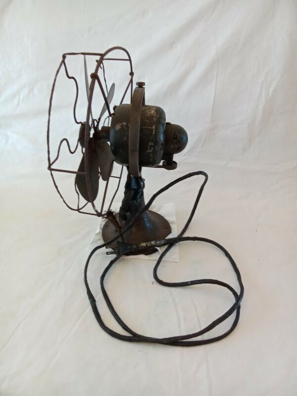 """GE WHIZ 9"""" BRASS BLADE FAN FOR PARTS OR RESTORE W CAGE CAT 257599"""