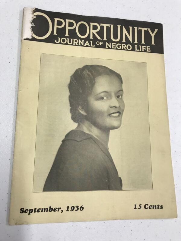 Rare! Opportunity Journal Of Negro Life September 1936 Issue