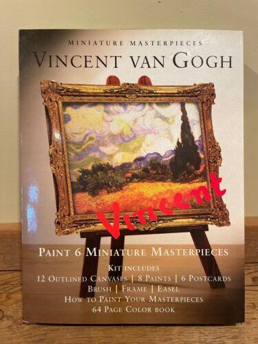 VINCENT VAN GOGH Paint 6 Miniature Masterpieces Kit Canvases Postcards Easel NEW