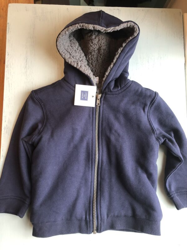 NWT Janie and Jack Blue Zip Up Sherpa Hoodie 2T Boys