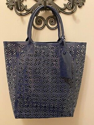 Tory Burch Large Navy Blue Lace Perforated Patent Tote Bag Handbag NEW!