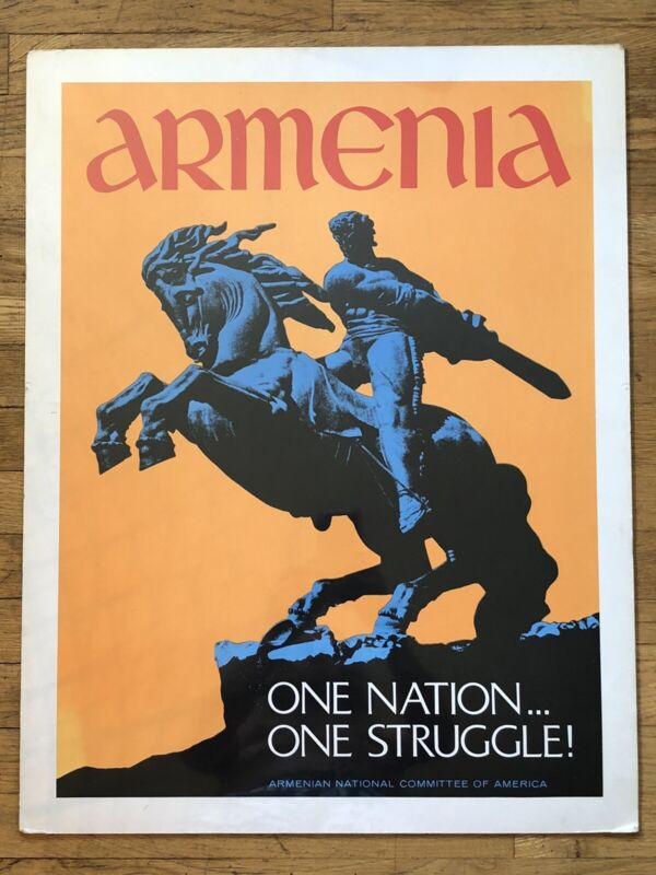 Rare Vintage Armenia Poster - One Nation One Struggle ANCA - Political Graphic