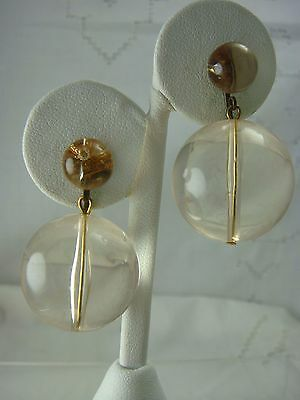 VINTAGE ORB POOLS OF LIGHT CLEAR LUCITE DANGLE CLIP EARRINGS