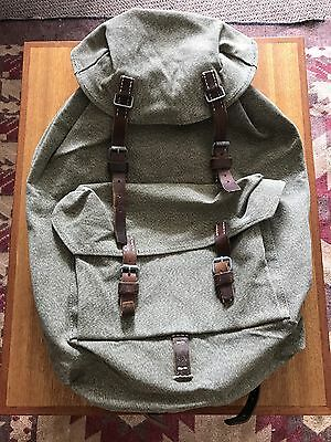 Vintage Swiss Army Rucksack Backpack Salt Pepper Canvas Leather 59