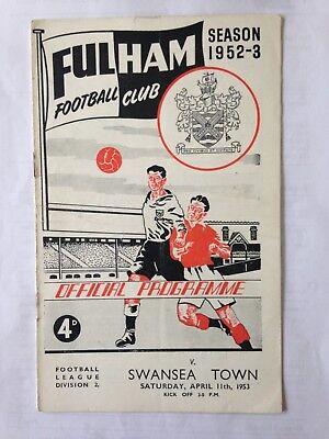 1952/3 FULHAM V SWANSEA TOWN (DIV 2)