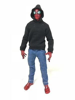 "OZ-SS-BLK: FIGLot 1/12 fabric Black hoodie for 6"" ML Spiderman, SHF, Figma"