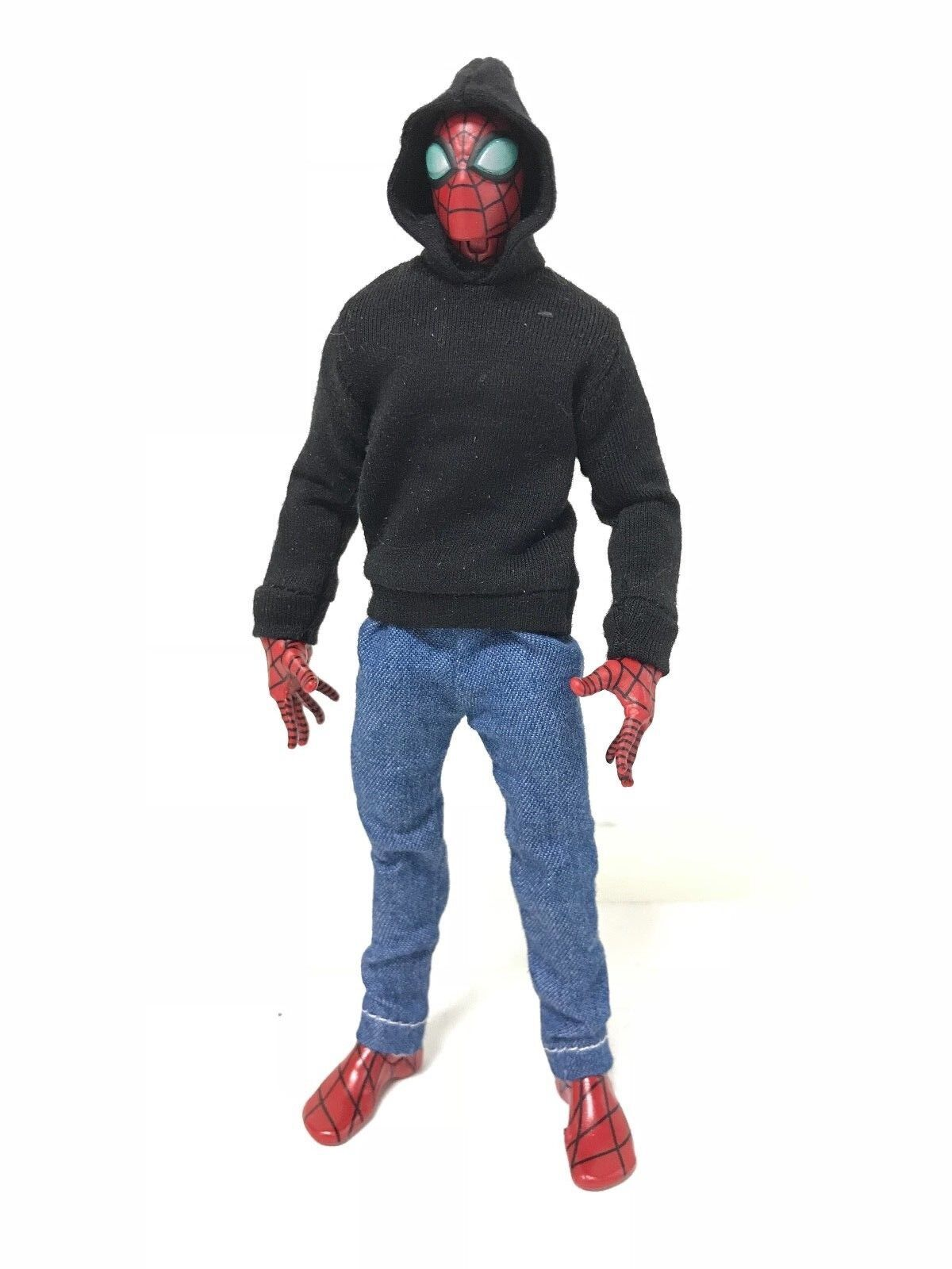 """OZ-SS-BLK: FIGLot 1/12 fabric Black hoodie for 6"""" ML Spiderm"""