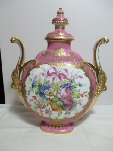 19th C Sevres Gilt Porcelain Ornate Pillow Vase Urn Pink Flower Basket
