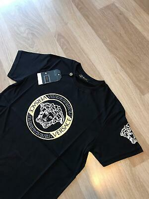 Nwt Mens Black and Gold&Silver Versace Medusa Classic Short sleeve T Shirt
