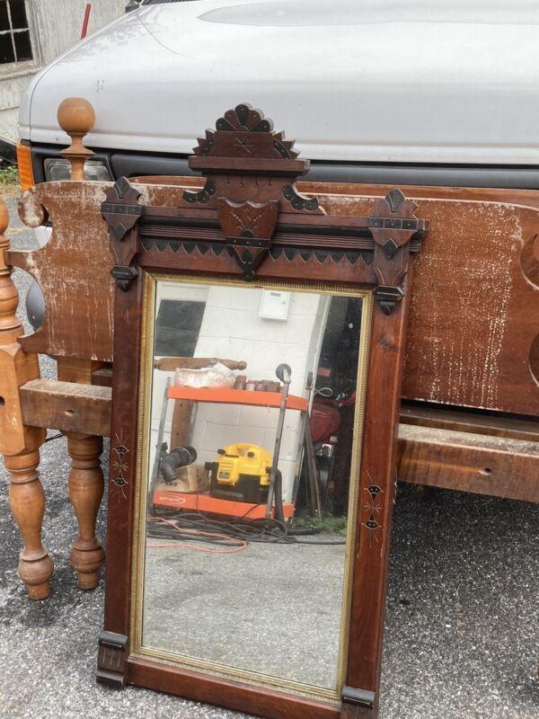 Antique Victorian Walnut Eastlake Pier Mirror With Original Glass Ornate