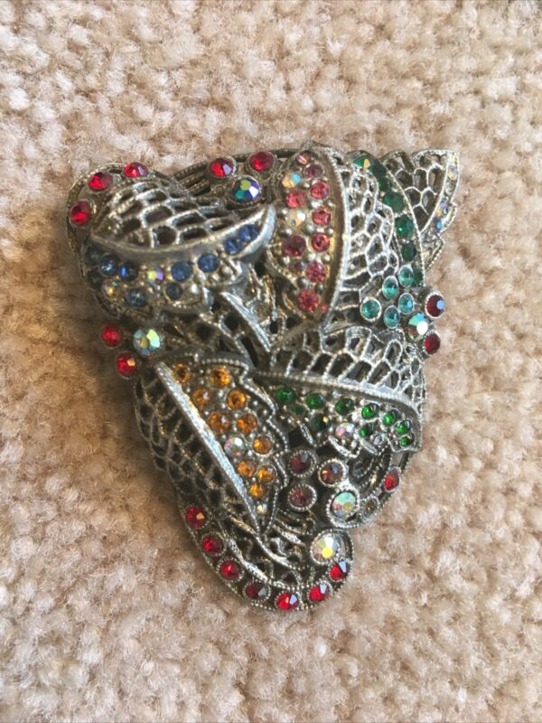 Victorian pot metal large dress clip with rainbow stones Signed L/N