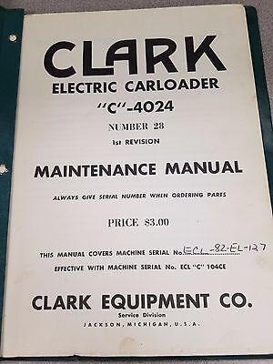 Clark Forklift Electric Carloader C Maintenance Manual