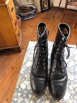 Vintage Justin Roper Lace Up Victoriana Boots Black Leather UK7 US9 EU40