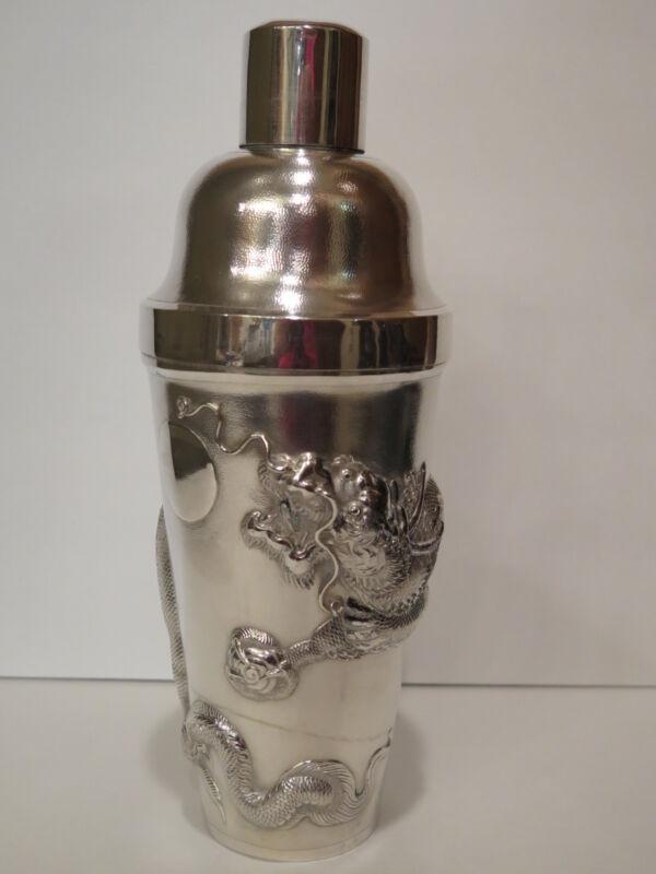 Antique Chinese NK (Nanking) Silver Cocktail Shaker Dragon Motif