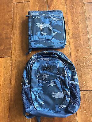 Pottery Barn Teen Kids Large CAMO Backpack And  Binder BLUE Personalized IAN - Personalized Kids Back Packs