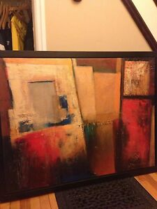 Modern style textured art in black floater frame.  Peterborough Peterborough Area image 2