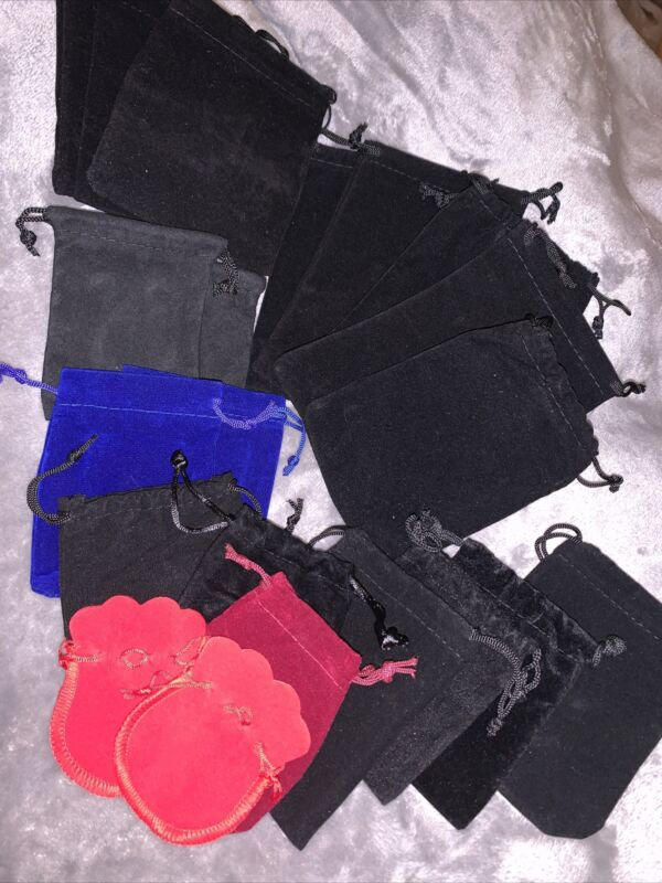 Lot Of 21 Assorted Size And Color Jewelry Pouches
