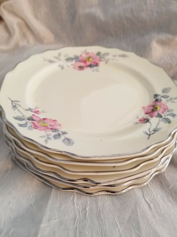 WS George Lido Canarytone USA Pink Flowers Gray Leaves 6  Plates - Dessert