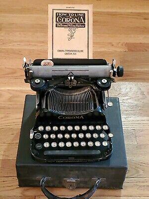 Corona No.3 Portable Model Folding Typewriter with Original Antique Wood Case