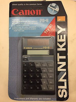 New Canon Slant Key Solar LCD Black Calculator, Model PS-8 RARE!
