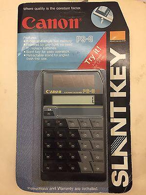 New Canon Slant Key Solar LCD Black Calculator, Model PS-8 RARE!
