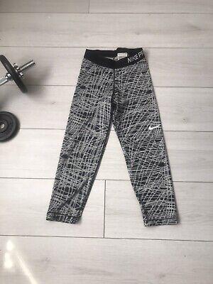 Nike Pro Grey Black Gym Leggings Yoga Workout Run Dri Fit Size XS