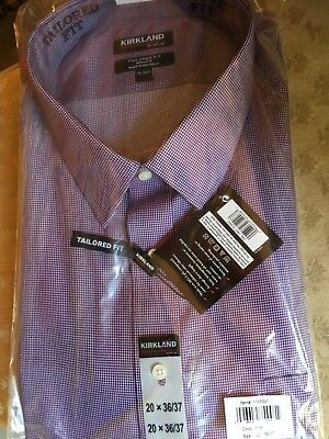 Kirkland Signature Tailored Fit Dress Shirt Burgundy Spread Collar Big & Tall