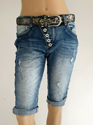 Boy Kurze (Boyfriend Capri Bermuda kurze Jeans destroyed schräge Knopfleiste Gr.34/36,36,42)