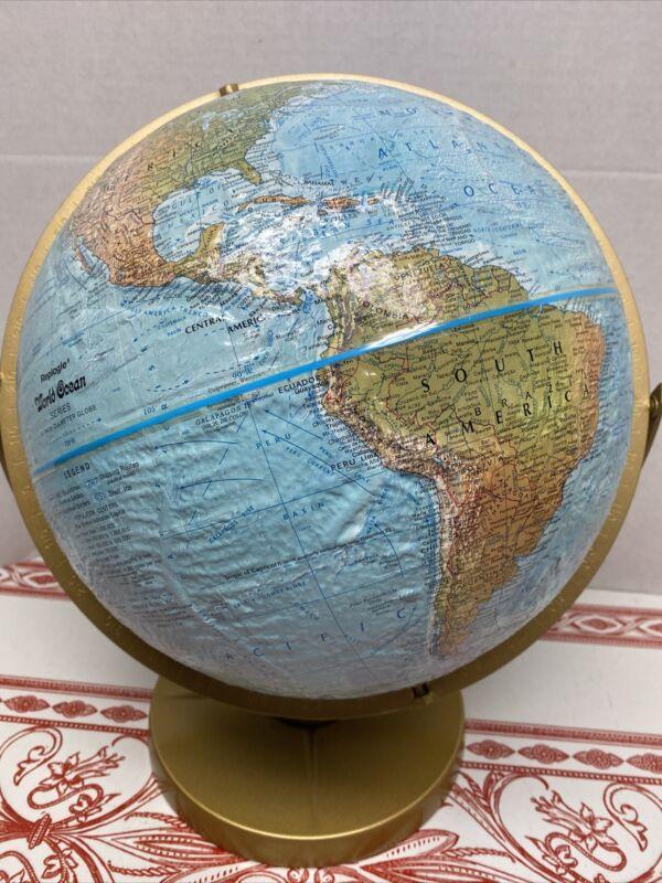 "Vtg Replogle Land & Sea World Globe 12"" Rotating Raised Relief Metal Base Mint!!"