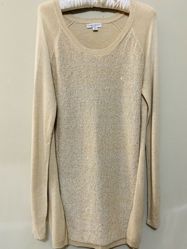 Liz Lange Maternity Gold Sequin Sparkly Sweater Tunic Size Large