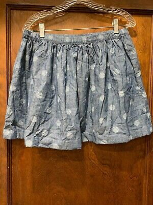 Lands' End Kids Girls Chambray Polka Dot Skirt Sz 14 Plus Women's  Elastic Waist