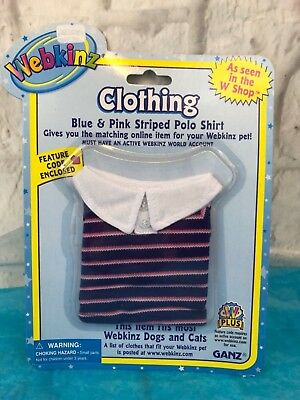 Ganz Webkinz Blue Pink Polo Shirt Plush Clothing New In Packaging