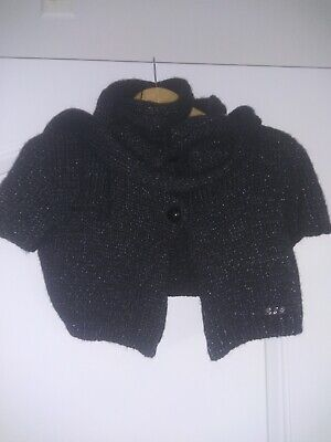 Patrizia Pepe Cardigan with scarf. Italy. Color: black-metalica