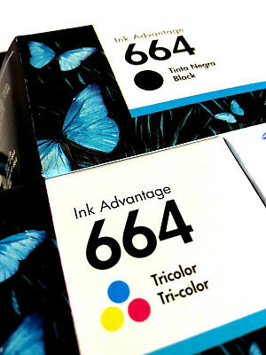 2 Pack - HP 664 Ink Cartridge Black + TRI-COLOR Original F6V28AL, F6V29A (Combo)