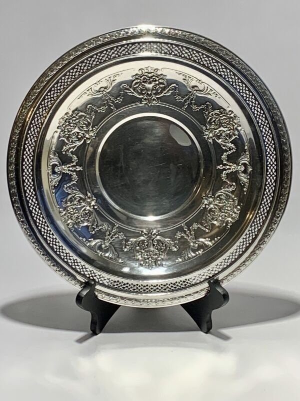 Stunning Antique 12 Inches Round International Silver Co Silver Plated & Stand