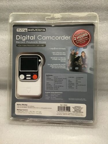 New Sealed Living Solutions Digital Camcorder In VGA 640 X 480 125044 Vintage - $49.99