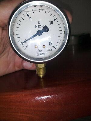 Wika En 837-1 2.5 Stainless Liquid Filled Gauge -1-15 Bar 14 Npt Steampunk