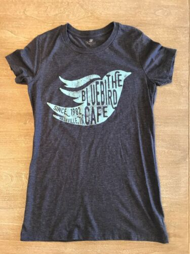 Bluebird Café Nashville Music Womens Heather Blue Fitted Graphic T Shirt Medium