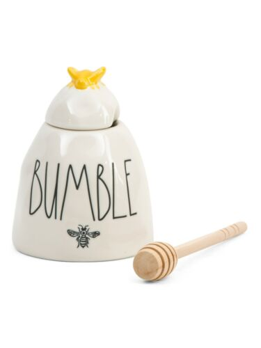 Rae Dunn 'BUMBLE' Honey Pot Ceramic Ivory with Yellow Bee and Wood Dipper NIB