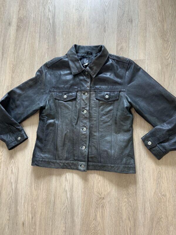 Vintage Leather Jacket Denim Trucker Style