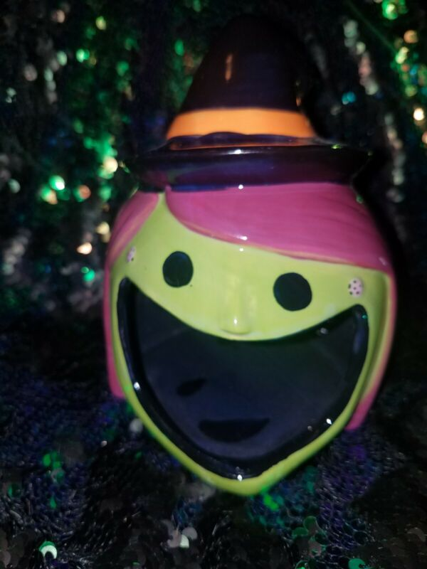Halloween Ceramic Candy Dish Witch...Target Bullseye's Playground...NEW