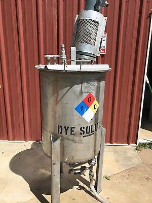 70 Gallon Mixing Tank W 13 Hp Mixer Cone Bottom Hinged Lid Heavy Duty