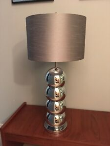 "Mid century modern stacked chrome balls - 22.5"" to top of socket"
