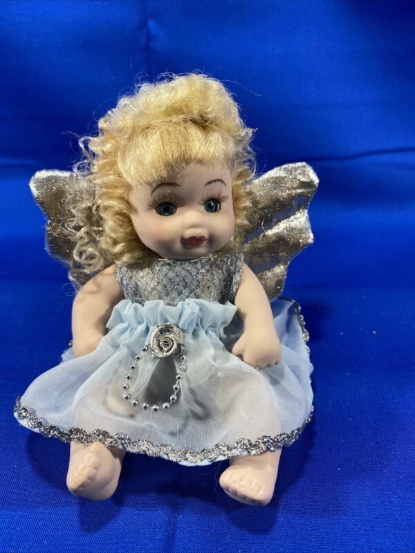 """Small Porcelain Doll- Angel / Fairy Blue Dress With Wings- 6"""""""