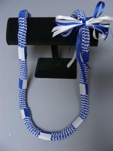 Hawaiian Ribbon Square Weave Graduation Lei blue white