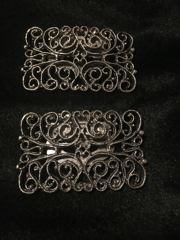 Vintage Ornate Gray Metal Shoe Clips