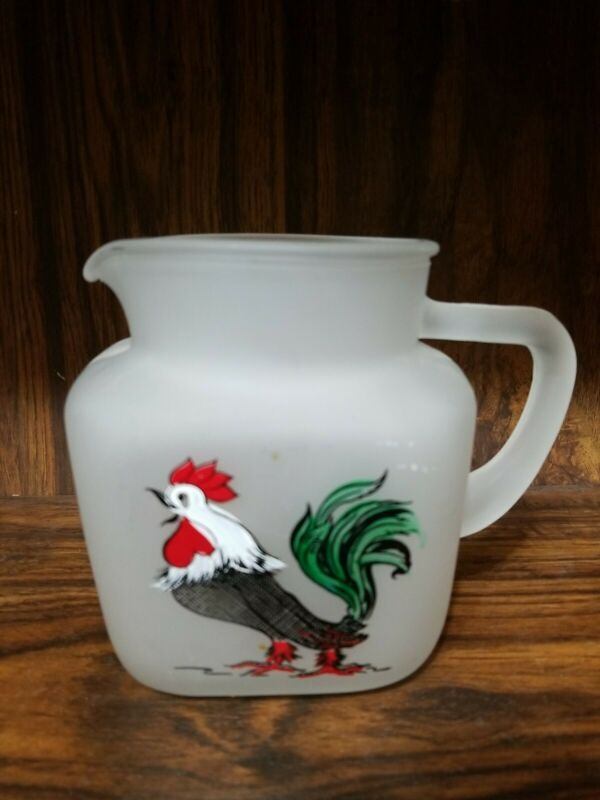 Federal Glass Co. Frosted Juice Pitcher Rooster -  Star Bottom