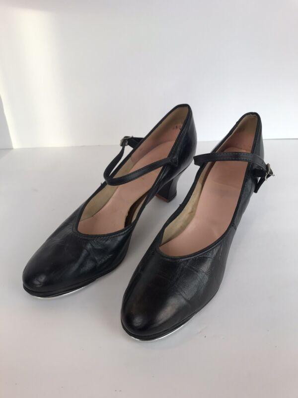 "CAPEZIO Size 9 Black Leather Tap Shoes 2"" Heel Character Tele Tone Taps"